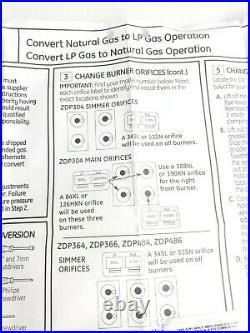 GE Monogram Propane Conversion Kit (LP) Professional Models# ZDP484NGP8SS NEW