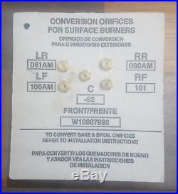 WHIRLPOOL-NAT. GAS TO PROPANE CONVERSION KIT-5 Burner Range Orifices W10867892